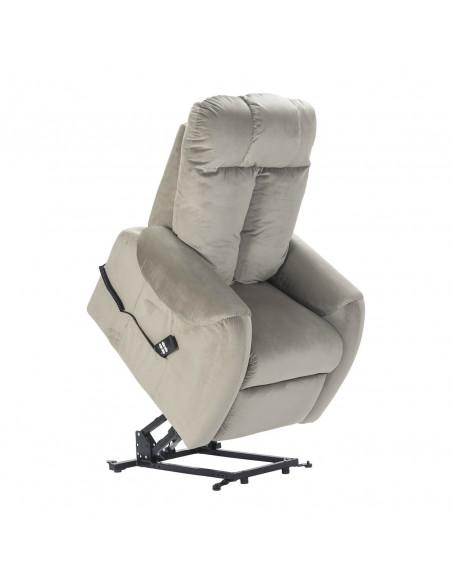 Relaxsessel mit Aufstehhilfe und 2 Motoren aus Samtbezug